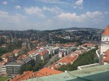 Sikt över Bratislava, Slovakien Arkivfoton