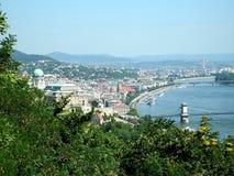 Sikt över Budapest och Donau Arkivfoton