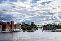 Sikt över Danvikstull och Saltsjöqvarn, Stockholm Arkivfoto
