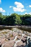 Sikt över den Chaudiere floden i Levis, Quebec fotografering för bildbyråer