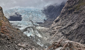 Sikt över den Franz Joseph glaciären - Nya Zeeland Royaltyfria Foton