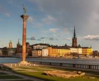 Sikt över den gamla staden i Stockholm, Sverige Royaltyfri Foto