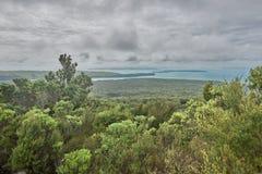 Sikt över den Hauraki golfen från den Rangitoto toppmötet Nya Zeeland arkivfoton
