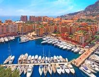Sikt över den Monaco hamnen, Cote d'Azur Royaltyfria Bilder