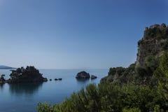 Sikt över den Parga hamnen, Parga Grekland Arkivfoto