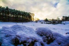 Sikt över det djupfrysta Derbyshire fältet och mest forrest arkivbilder