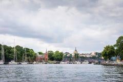 Sikt över det Södermalm området i Stockholm, Sverige Arkivbild