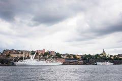 Sikt över det Södermalm området i Stockholm, Sverige Arkivfoton
