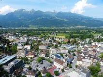 Sikt över det Vaduz centret Arkivbilder