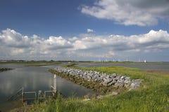 Sikt över flodhopkrupna ställningen från den Wallasea ön, Essex, England Royaltyfri Bild