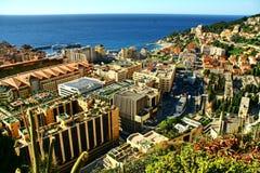 Sikt över furstendömet Monaco, monte - carlo Arkivfoto