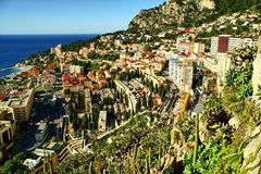 Sikt över furstendömet Monaco, monte - carlo Fotografering för Bildbyråer