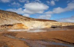 Sikt över geotermiskt område Royaltyfri Fotografi