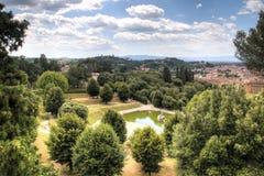 Sikt över Giardino di Boboli i Florence, Italien Arkivfoton