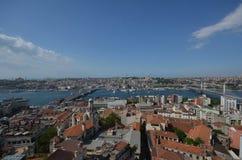 Sikt över Istanbul från det Galata tornet, Turkiet Arkivfoton