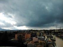 Sikt över Korfu Arkivfoto