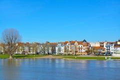 Sikt över lägre Neckar River bank med den stora ängen som kallas 'Neckarwieses så populär mötepunkt för folk i vår och sommar arkivfoton