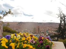 Sikt över La Paz, Bolivia arkivfoton