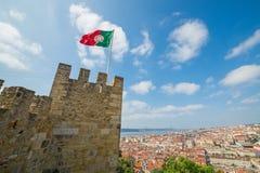 Sikt över Lissabon från Sao Jorge Castle - Portugal, Europa Arkivfoto