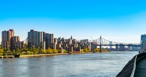 Sikt över News York City East River, in mot den 59th gataQueensboro bron och delar av Roosevelt Island royaltyfria foton