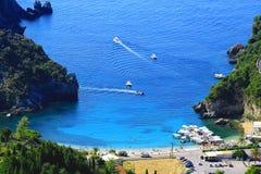 Sikt över Paleokastritsa på den Korfu ön Royaltyfri Bild
