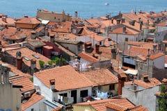 Sikt över Piran, Slovenien royaltyfria foton