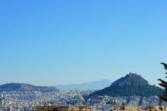 Sikt över staden av Aten Arkivbild