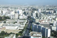 Sikt över staden av Casablanca, Marocko Arkivbilder