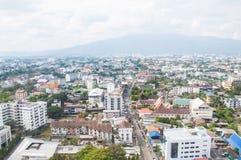 Sikt över staden i Changmai på Thailand royaltyfri foto