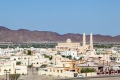 Sikt över staden Nakhl, Oman Arkivbild