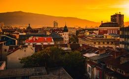 Sikt över stadsmitt i Sofia Bulgaria arkivbild