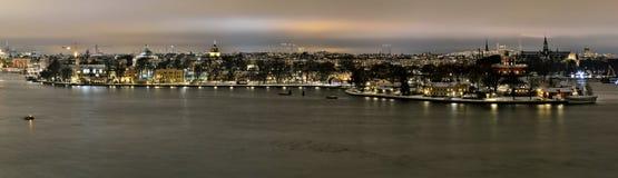 Sikt över Stockholm med ön Kastellholmen och Skeppsholmen Fotografering för Bildbyråer