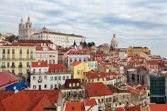 Sikt över taken av Lissabon Arkivbilder