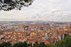 Sikt över taken av Lissabon Fotografering för Bildbyråer