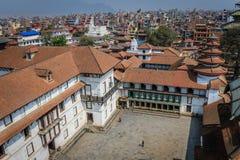 Sikt över tempel i den Durbar fyrkanten, Katmandu, Nepal Arkivbilder