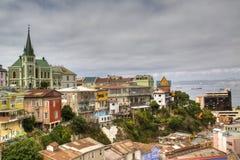 Sikt över Valparaiso, Chile Arkivfoto