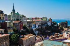 Sikt över Valparaiso, i Chile Arkivfoton