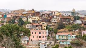 Sikt över Varlaraiso, Chile Arkivbild