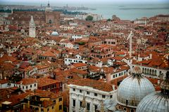 Sikt över Venedig från klockatornet, Italien Fotografering för Bildbyråer