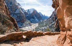 Sikt av änglar som landar som fotvandrar slingan i Zion National Park i Utah USA Arkivfoton