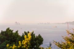 Sikt av åtskilliga holmar som står ut i Stilla havet under ogenomskinligheten i sydliga Oregon, USA royaltyfria bilder