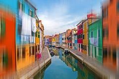 Sikt av ön Burano, Italien Royaltyfri Bild