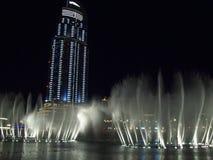 Sikt av aftonen Dubai förenade arabiska emirates Arkivbild