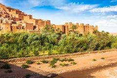 Sikt av Ait Benhaddou Kasbah, Ait Ben Haddou, Ouarzazate, Morocc Royaltyfri Bild