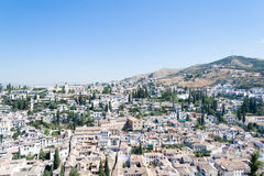 Sikt av Albayzinen från Alhambra Fotografering för Bildbyråer