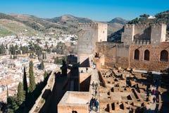 Sikt av Alcazabaen, Alhambra av Granada Arkivfoton