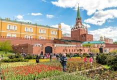Sikt av Alexander Garden på våren, Moskva Royaltyfri Foto