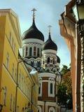 Sikt av Alexander Nevsky Cathedral från en gammal stadgata i Tallinn, Estland arkivfoton