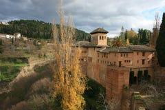 Sikt av Alhambra i Granada Arkivbild