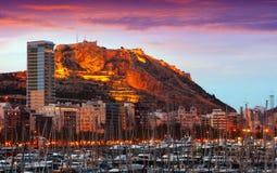 Sikt av Alicante i soluppgång Royaltyfria Foton